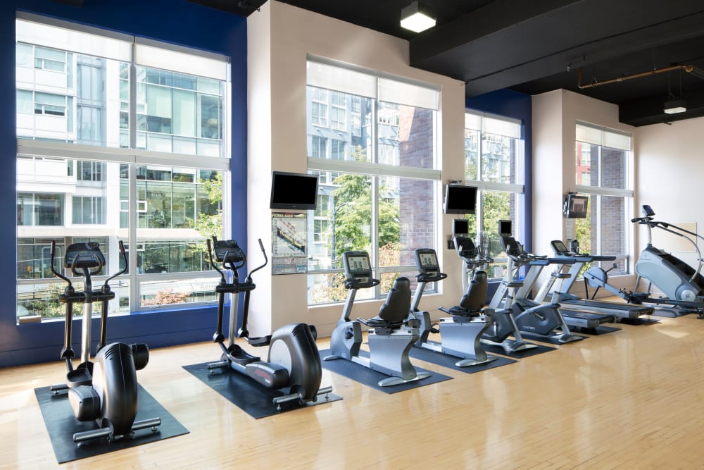 State-of-the-art fitness equipment at Metropolitan Towers in Vancouver, British Columbia