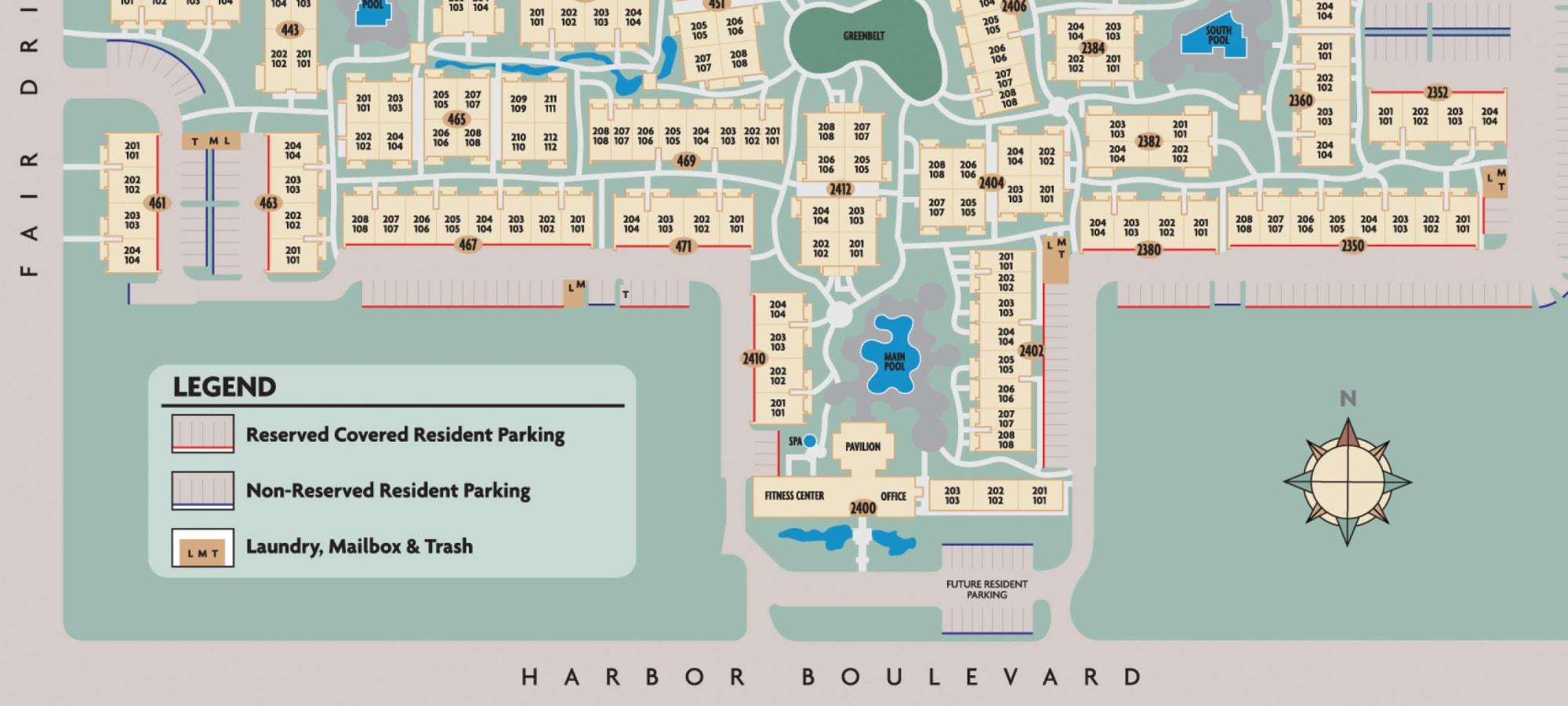 Site plan for Mediterranean Village Apartments in Costa Mesa, California