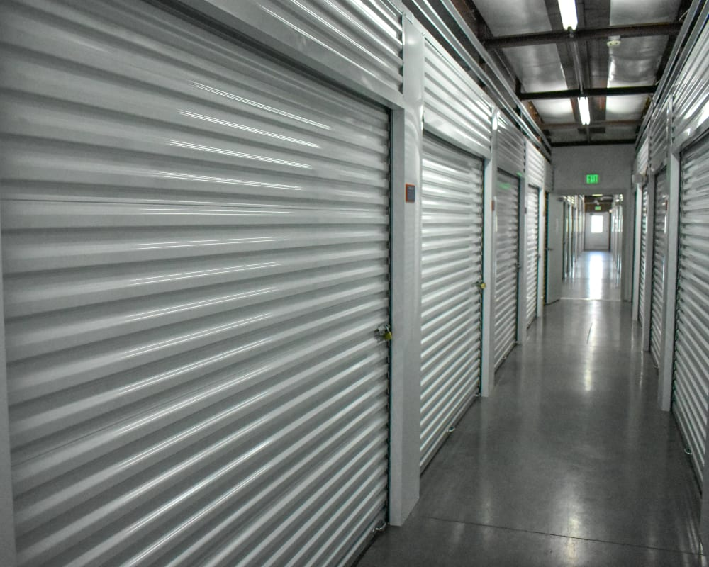 White doors on interior climate-controlled storage units at STOR-N-LOCK Self Storage in Fort Collins, Colorado