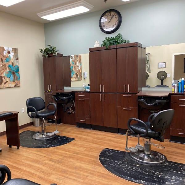 Salon at Pacifica Senior Living Fresno in Fresno, California.