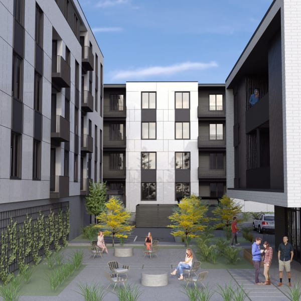 Rendering of Marquam Heights's courtyard area in Portland, Oregon