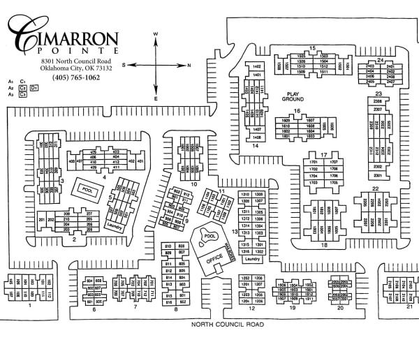 Site map for Cimarron Pointe Apartments in Oklahoma City, Oklahoma