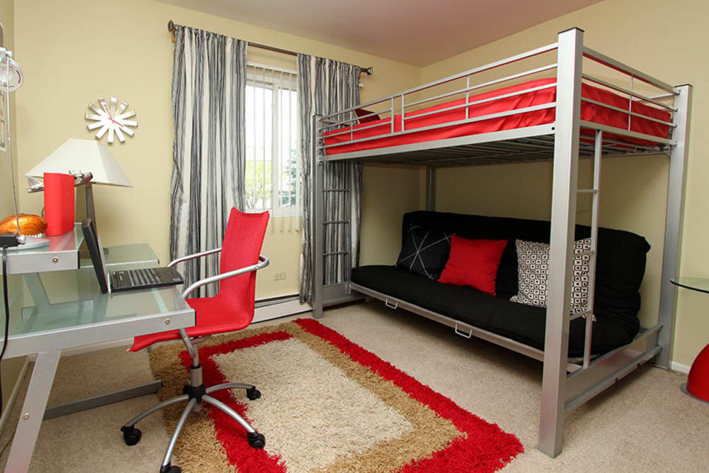 Bunk beds in a bedroom at Riverstone Apartments in Bolingbrook, Illinois