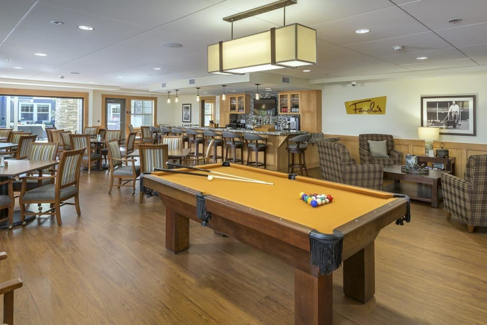 Lavish billiards area at Fancho's public house at The Springs at Greer Gardens in Eugene, Oregon