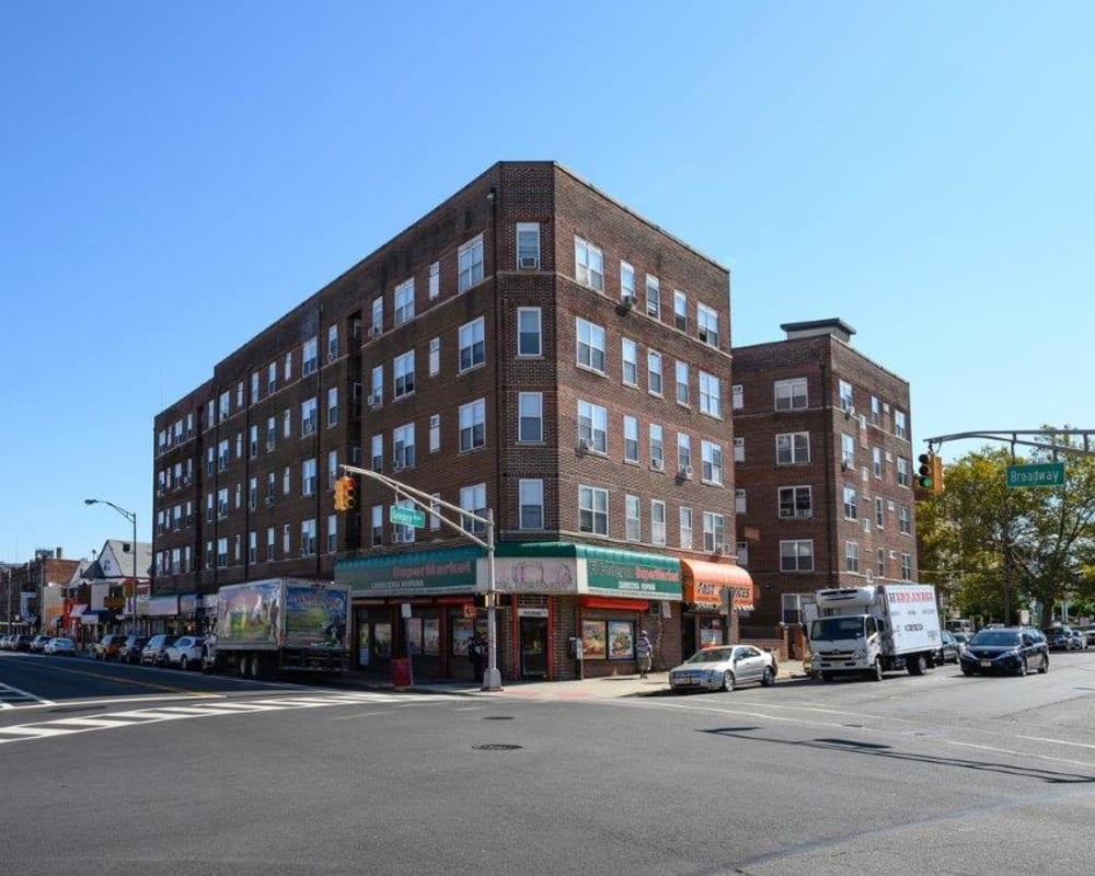 Exterior on a sunny day at Gregory Plaza in Passaic, New Jersey