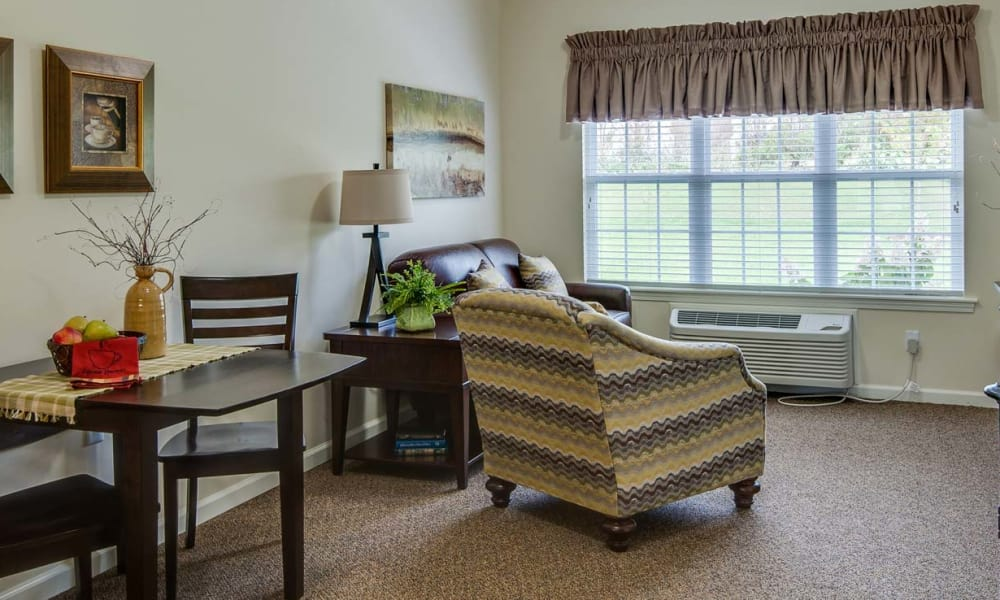 Cozy floor plan for assisted living residents at Mattis Pointe Senior Living in Saint Louis, Missouri