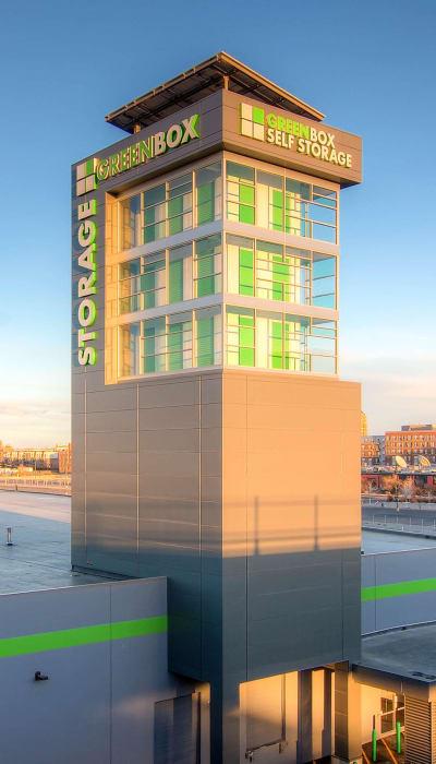 Exterior of Greenbox Self Storage in Denver, Colorado