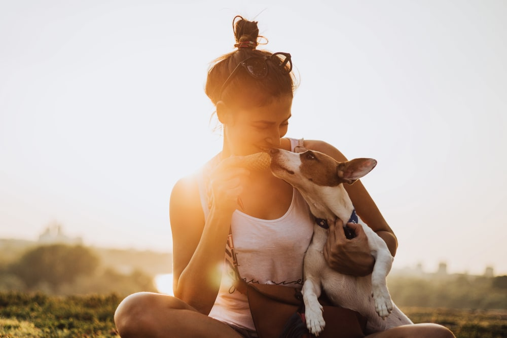 Resident enjoying the sunset with her pup near The Artisan Apartment Homes in Sacramento, California