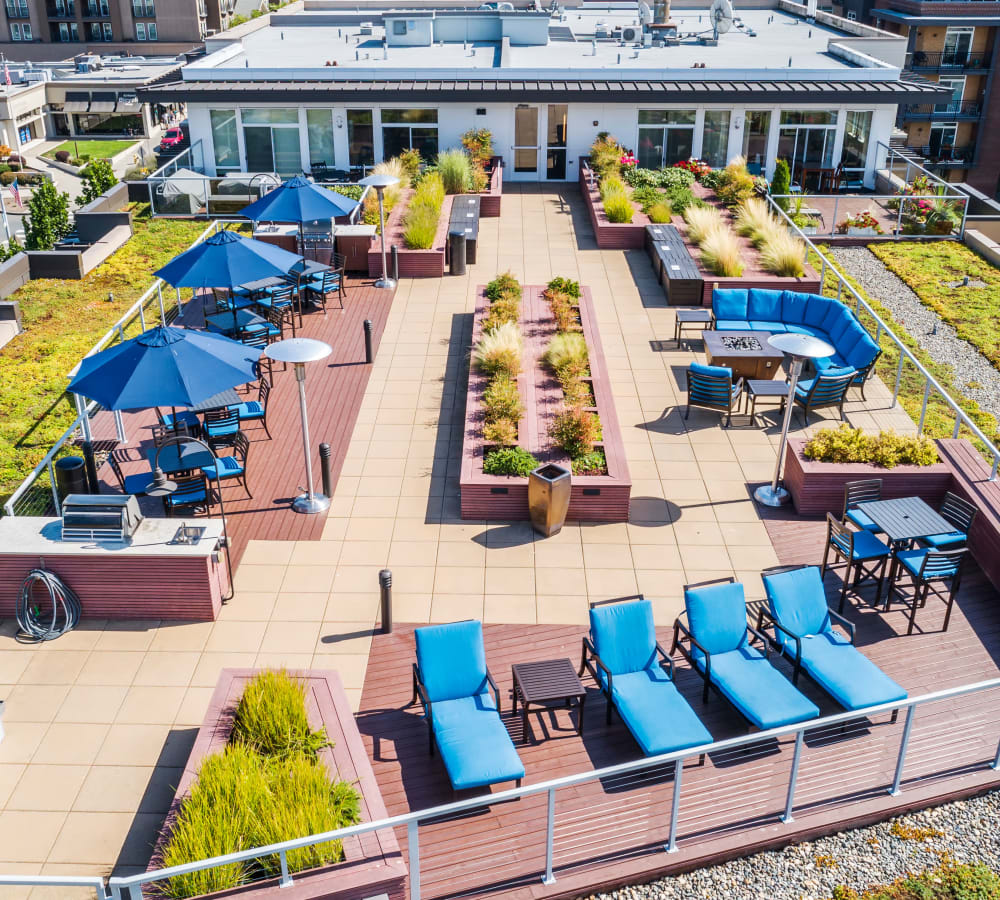 Aerial view of the rooftop deck at The 101 in Kirkland, Washington
