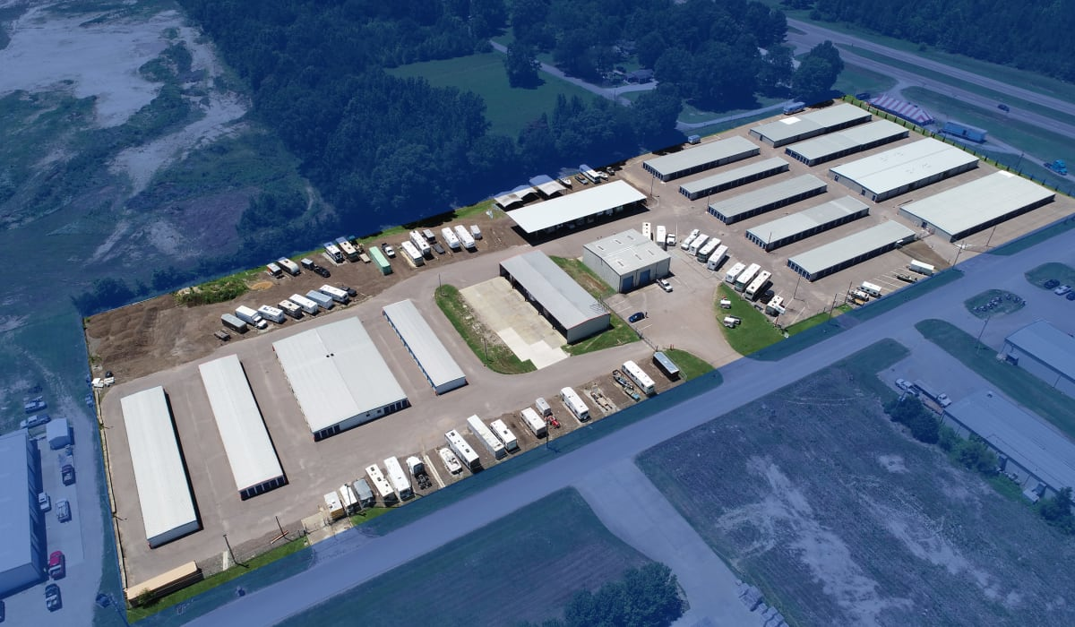 Aerial photo of the location at Midgard Self Storage in Oakland, Tennessee