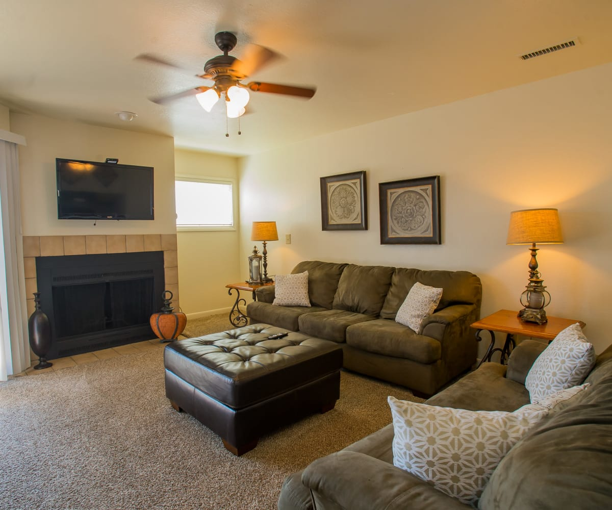 Well-lit living room at Sheridan Pond in Tulsa, Oklahoma