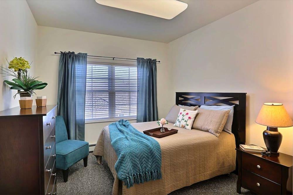 Resident bedroom at Milestone Senior Living in Cross Plains, Wisconsin.