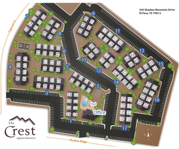 Site map for The Crest Apartments in El Paso, Texas