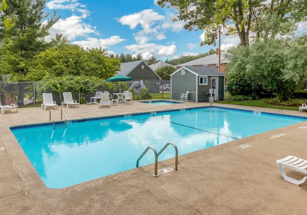 Crystal clear blue pool at Eagle Rock Apartments at Nashua in Nashua, New Hampshire