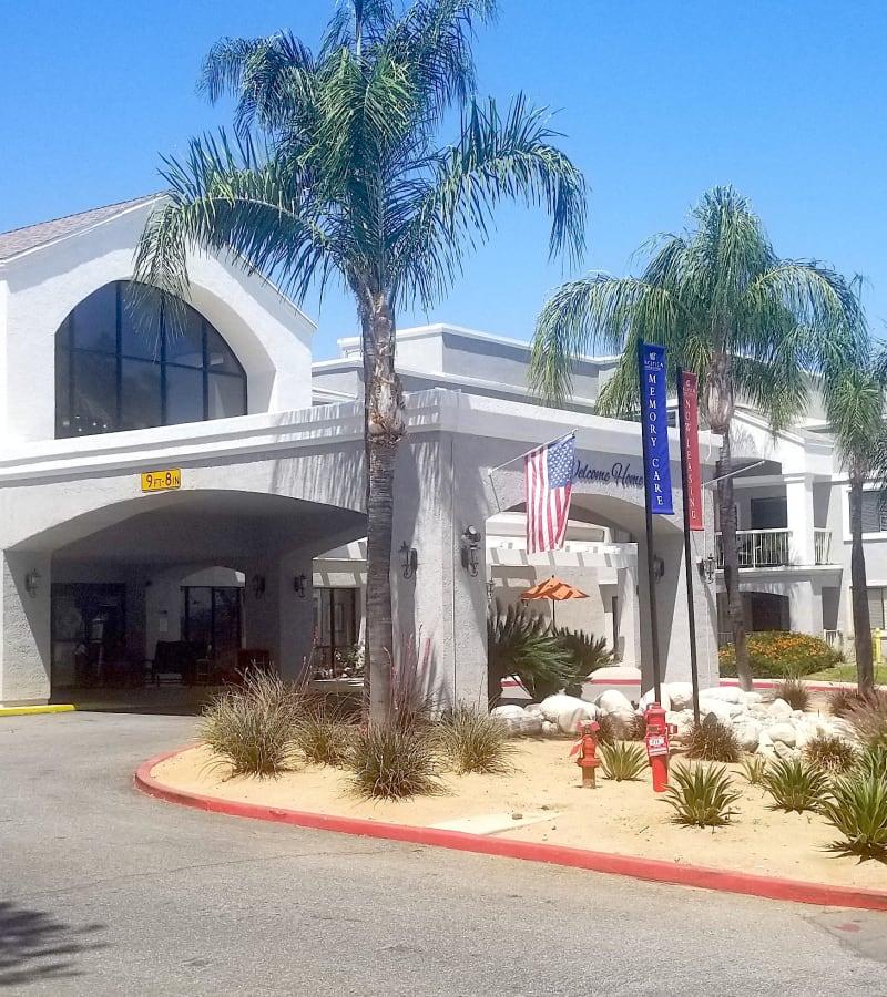 Main entrance at Pacifica Senior Living Menifee in Sun City, California