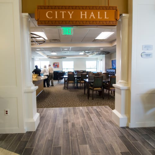 Residents have their own city hall at First & Main of Auburn Hills in Auburn Hills, Michigan