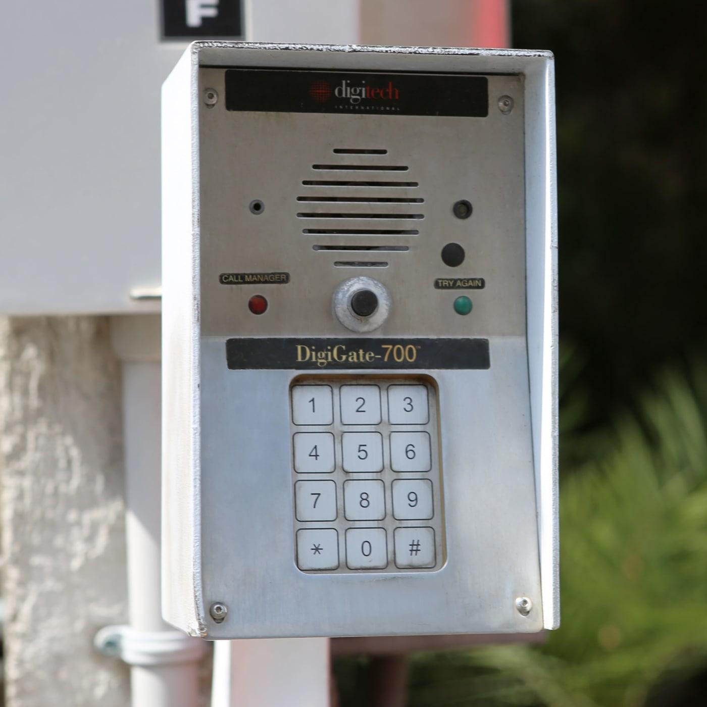 Keypad entrance to Midgard Self Storage in Bradenton, Florida