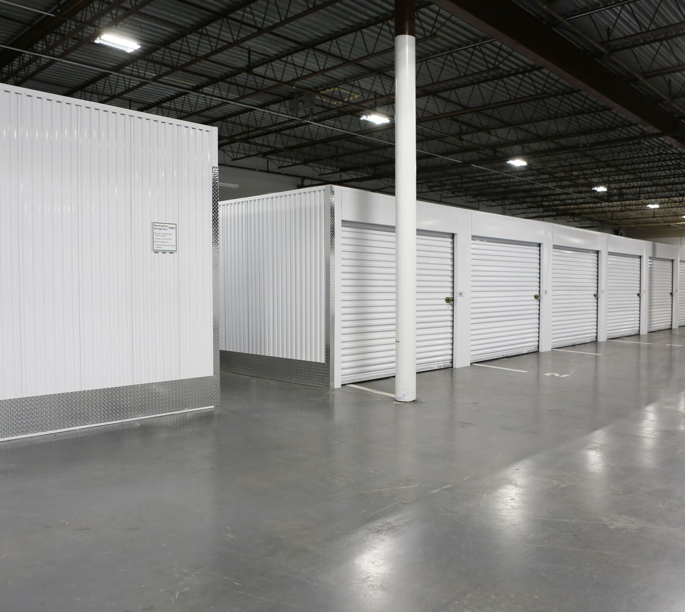 Interior storage units at Midgard Self Storage in Greenville, South Carolina