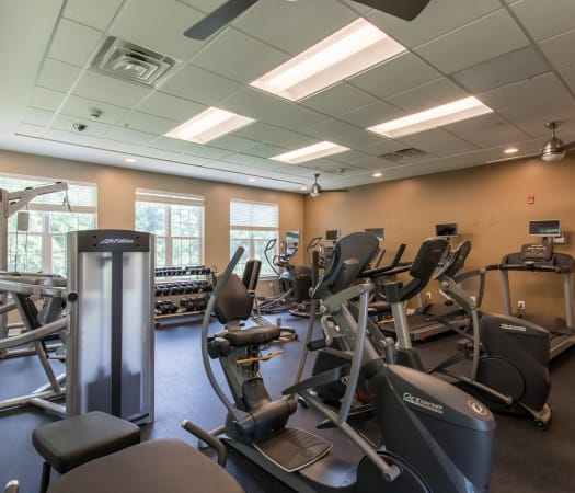 Fitness center at Waters Edge Apartments in Webster, New York
