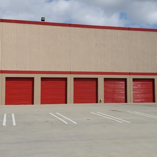 Exterior storage units with drive-up access at StorQuest Self Storage in Torrance, California