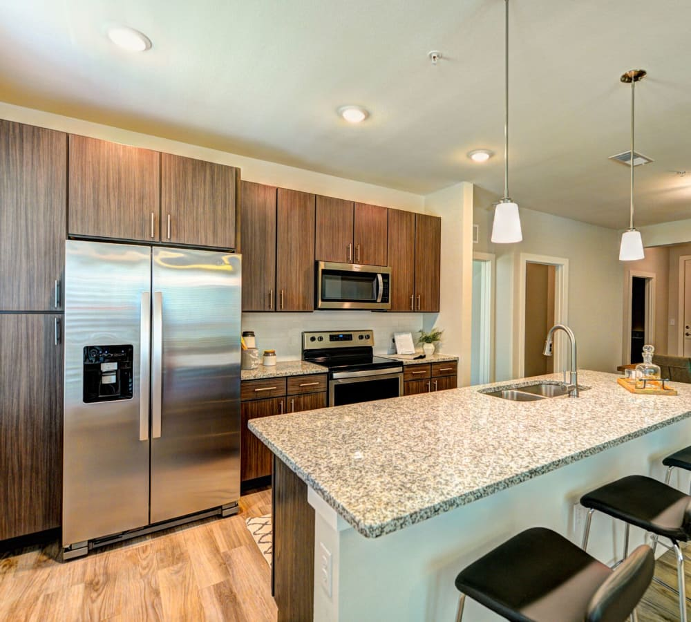 Kitchen with stainless steel appliances at Luxor Club in Jacksonville, Florida