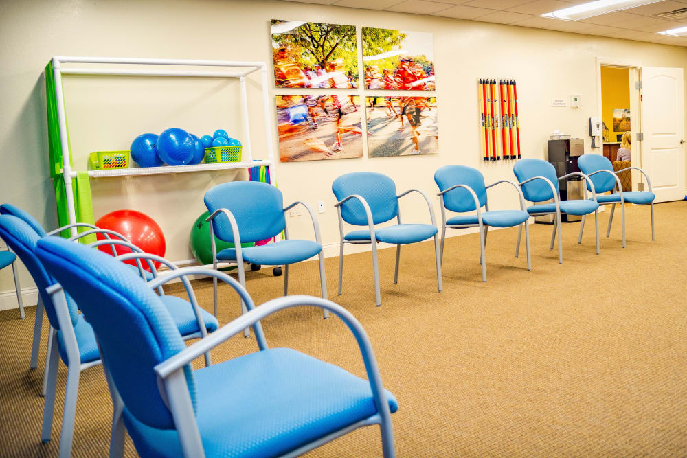 Seating in the exercise room at Welbrook at Bloomington in Bloomington, Illinois