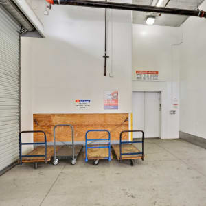 Carts and the elevator at A-1 Self Storage