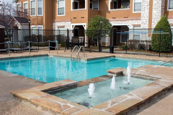 Sparkling swimming pool at Stonehaven Villas in Tulsa, Oklahoma