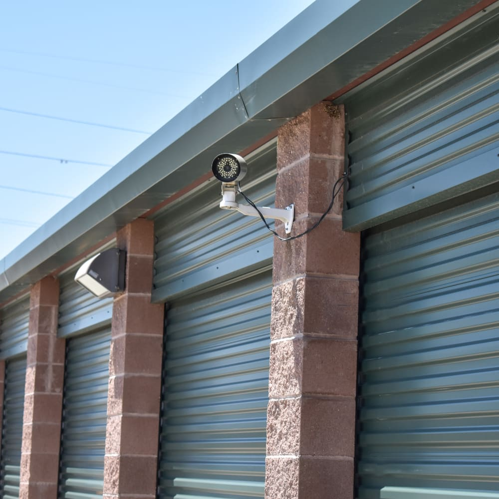 A video surveillance camera at STOR-N-LOCK Self Storage in Henderson, Colorado