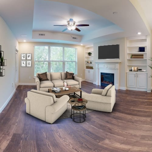 Spacious living rooms available at Celebration Village Forsyth in Suwanee, Georgia