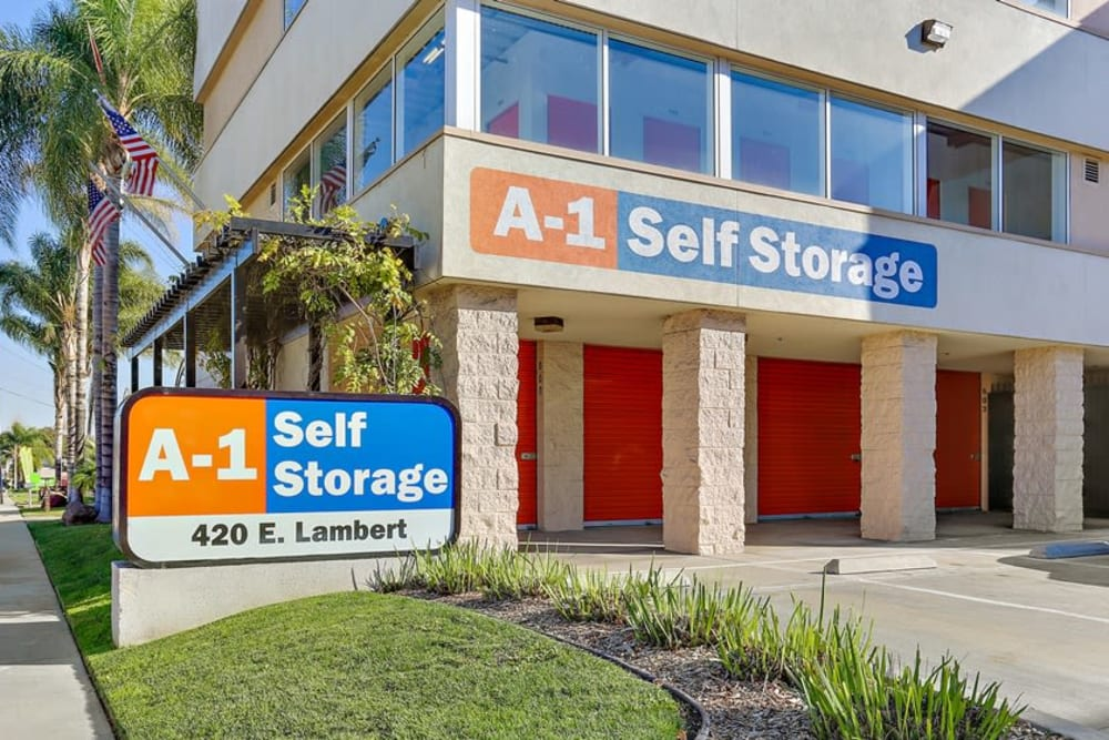 Outside of the A-1 Self Storage office in La Habra, California