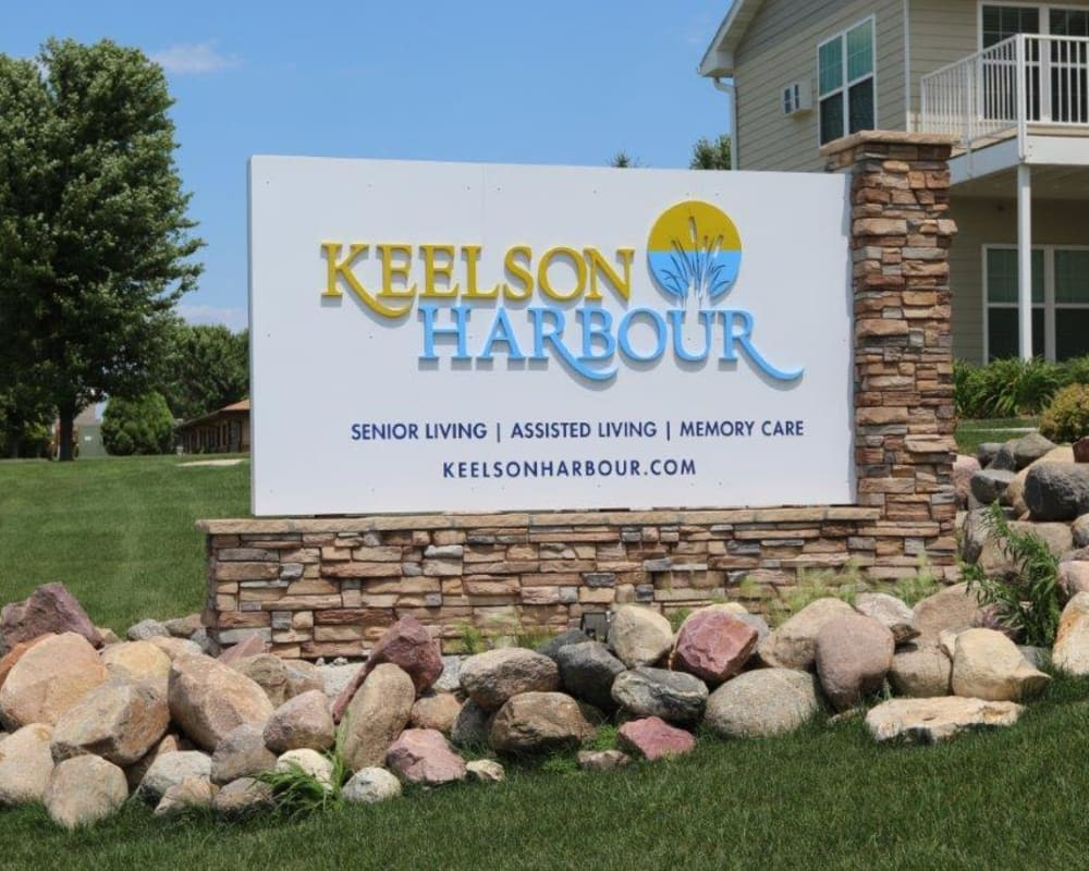 Street side sign guiding residents to Keelson Harbour in Spirit Lake, Iowa.