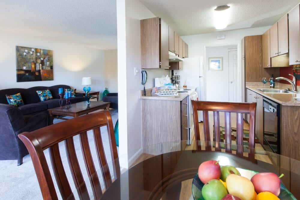 Dining room table at Valley West Apartments in San Jose, California