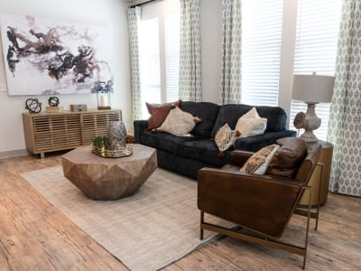 Bright, spacious living room at Shelby at Northside in Fort Worth, Texas