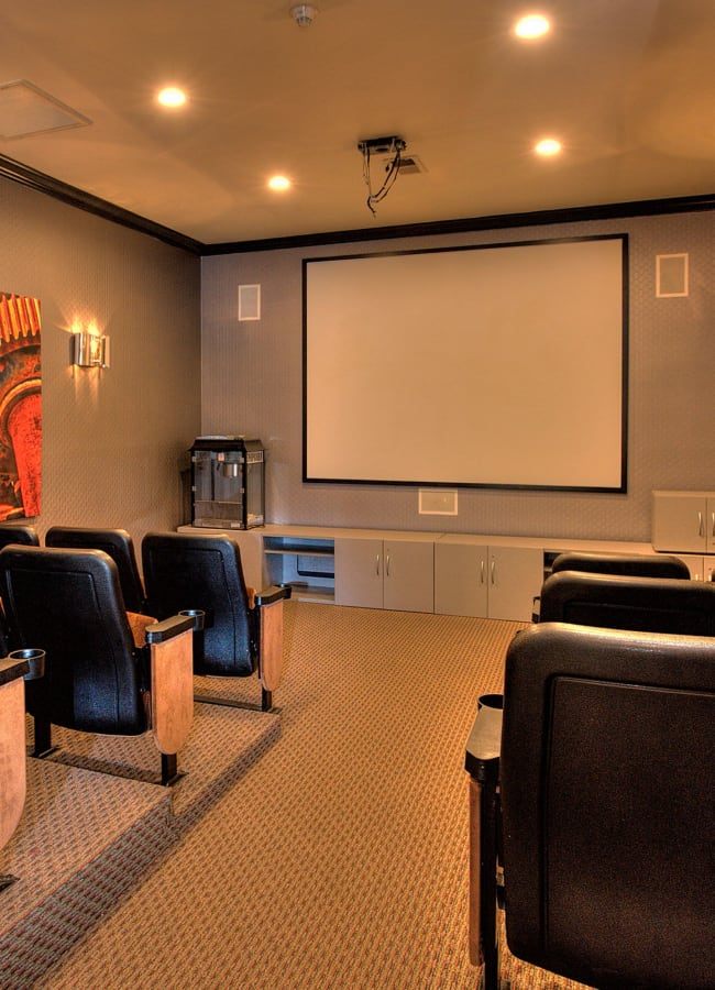 On-site theater for residents at The Vintage at South Meadows Condominium Rentals in Reno, Nevada
