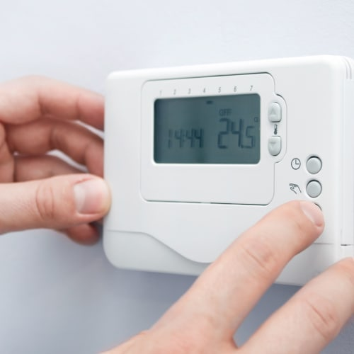 Thermostat for climate control at Red Dot Storage in Monroe, Louisiana