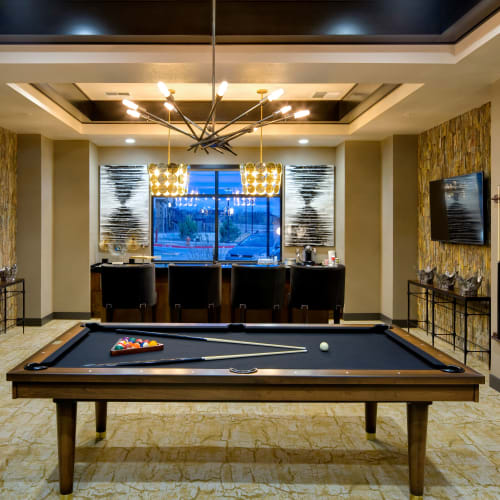 Gorgeous clubhouse with pool table at Olympus Alameda in Albuquerque, New Mexico