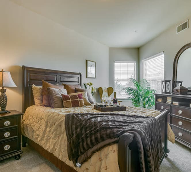 A large bed at Town Village in Oklahoma City, Oklahoma
