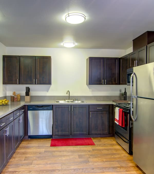 brown renovated Kitchen at The Addison Apartments in Vancouver,
