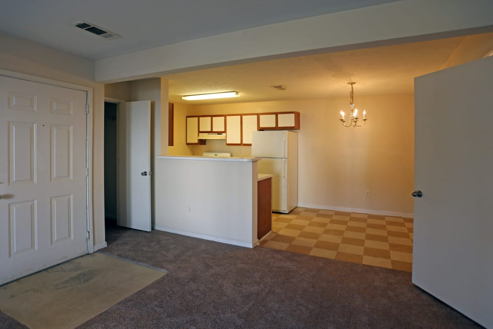 The entryway into an apartment living room at Ashton Park Apartments in Gulfport, Mississippi