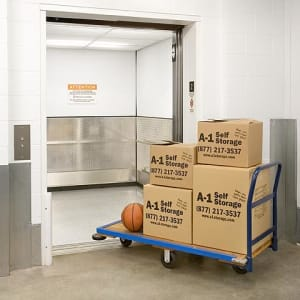 A-1 Self Storage has freight elevators and carts to make storage easy.