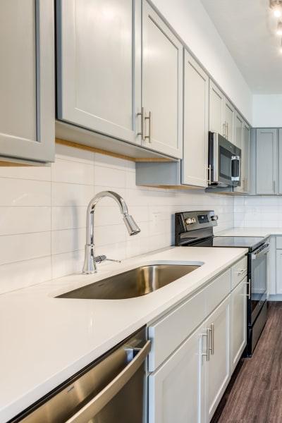 Quartz countertops in apartment homes at Solera at City Centre in Palm Beach Gardens, Florida