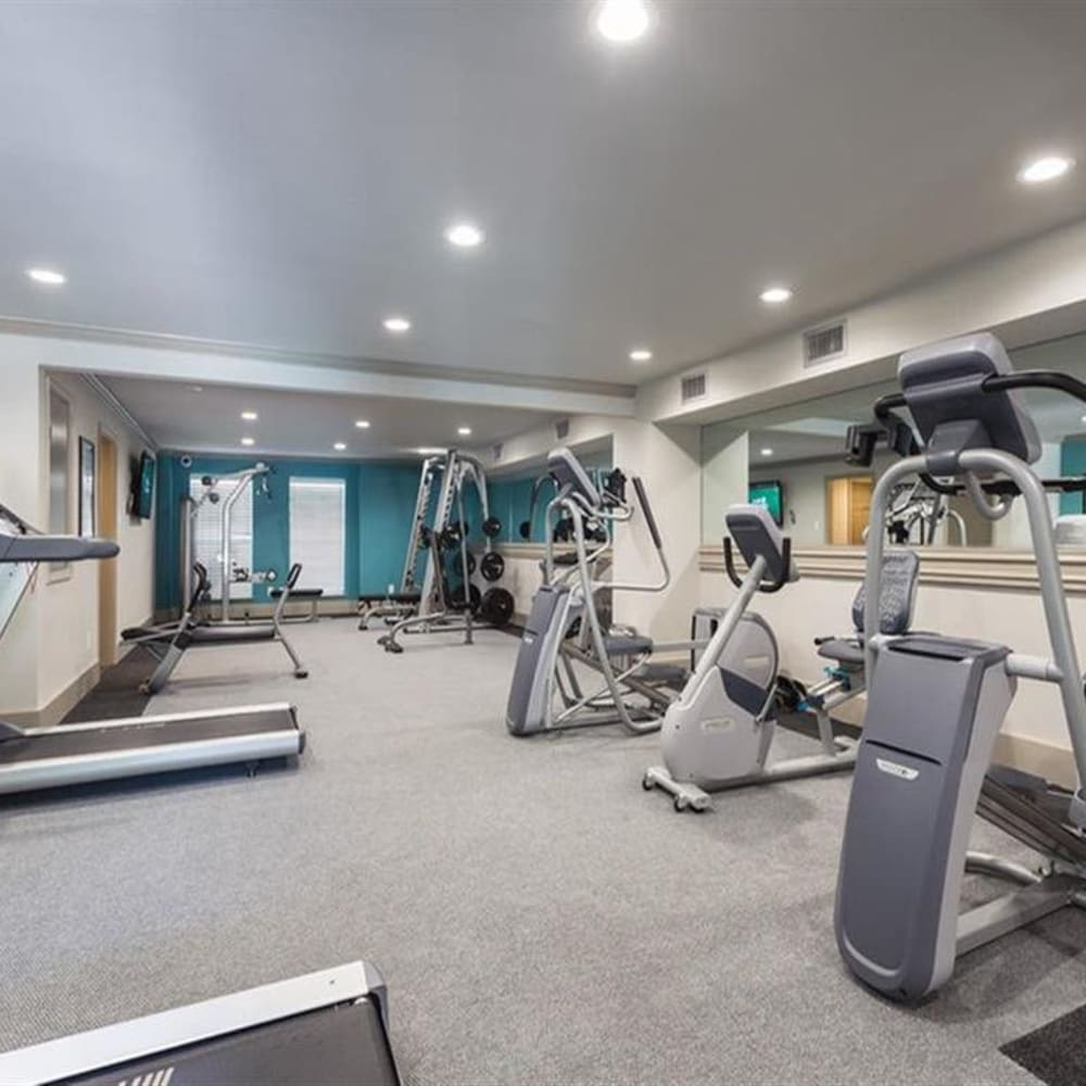 Fitness gym with plenty of individual workout stations at McAlister in Webster, Texas