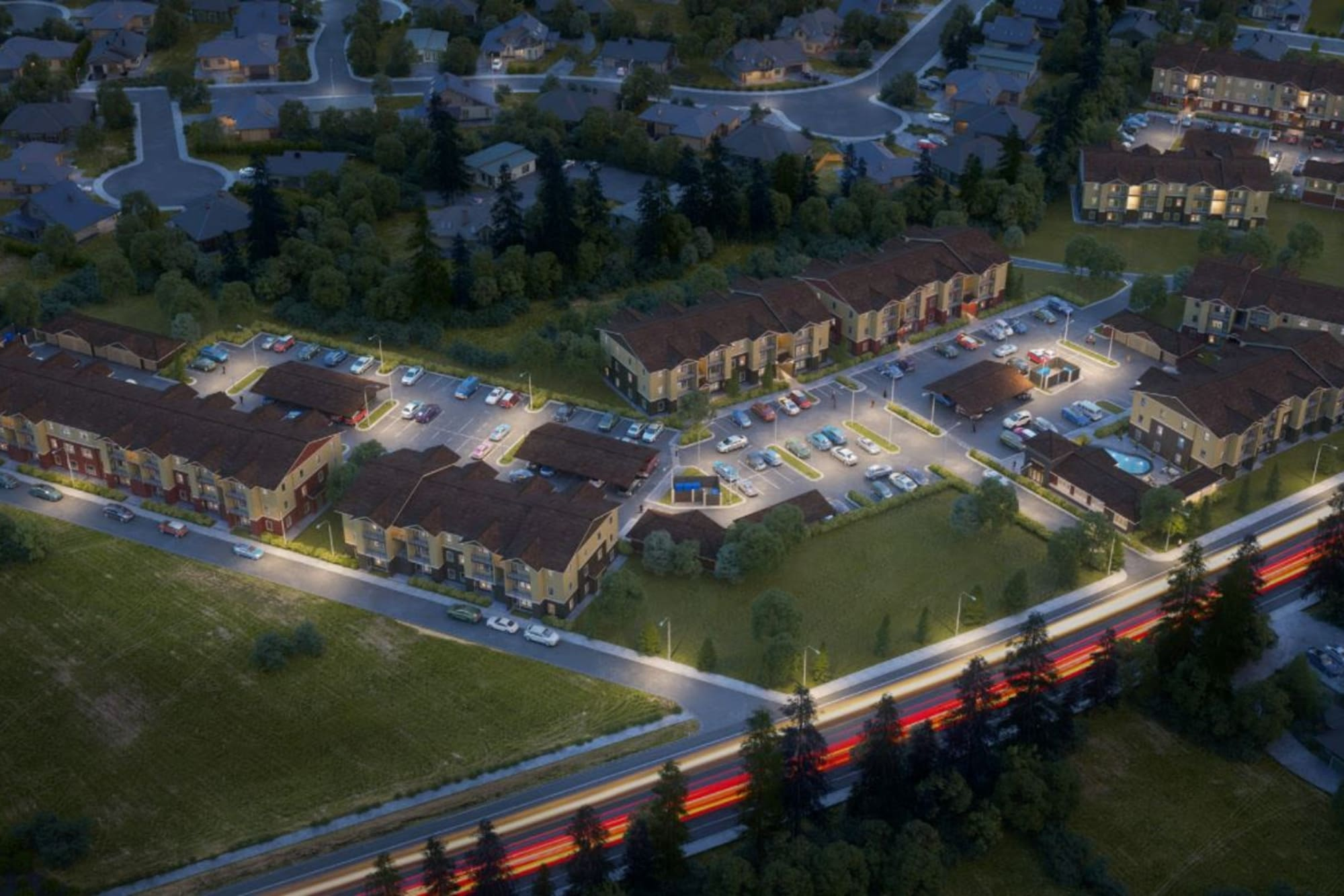 A nighttime aerial view of the apartment homes at Haven Hills in Vancouver, Washington