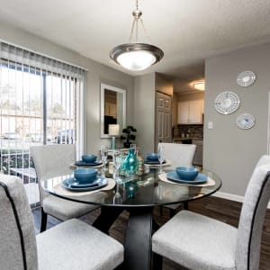 Model living and dining area at Lexington Park Apartments in Smyrna, Georgia