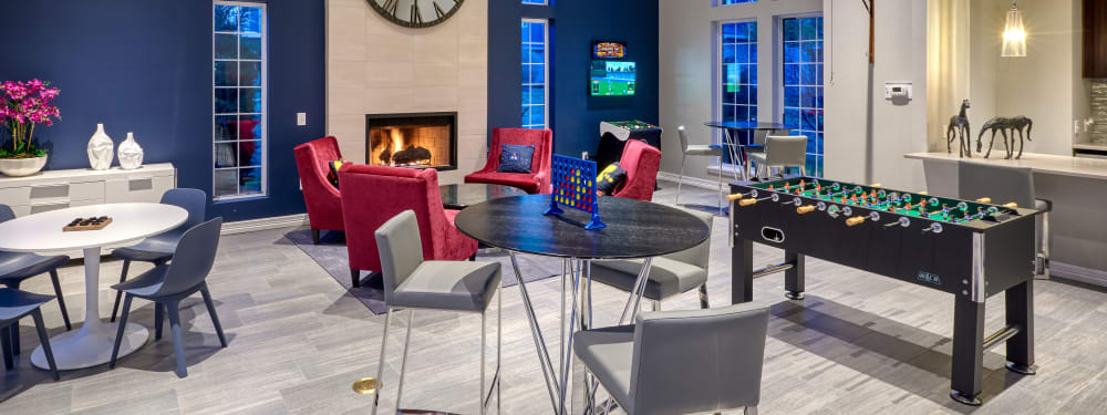 The community game room at Hawthorne Hill Apartments in Thornton, Colorado