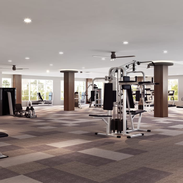 Well equipped gym for residents at The District at Scottsdale in Scottsdale, Arizona