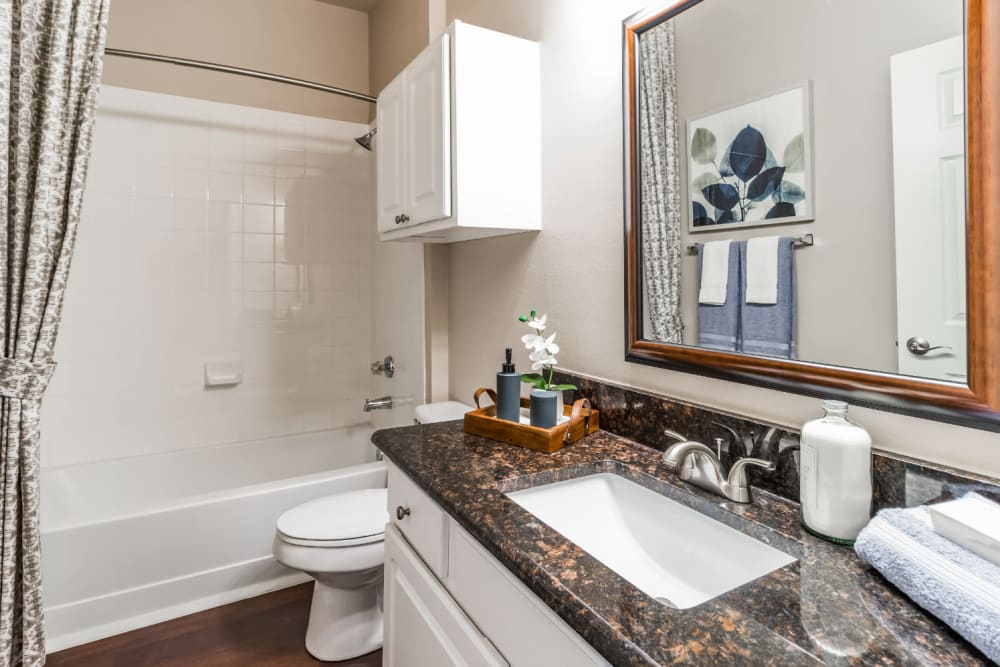 Bathroom with granite counter and full size bath tub at Marquis at Carmel Commons in Charlotte, North Carolina