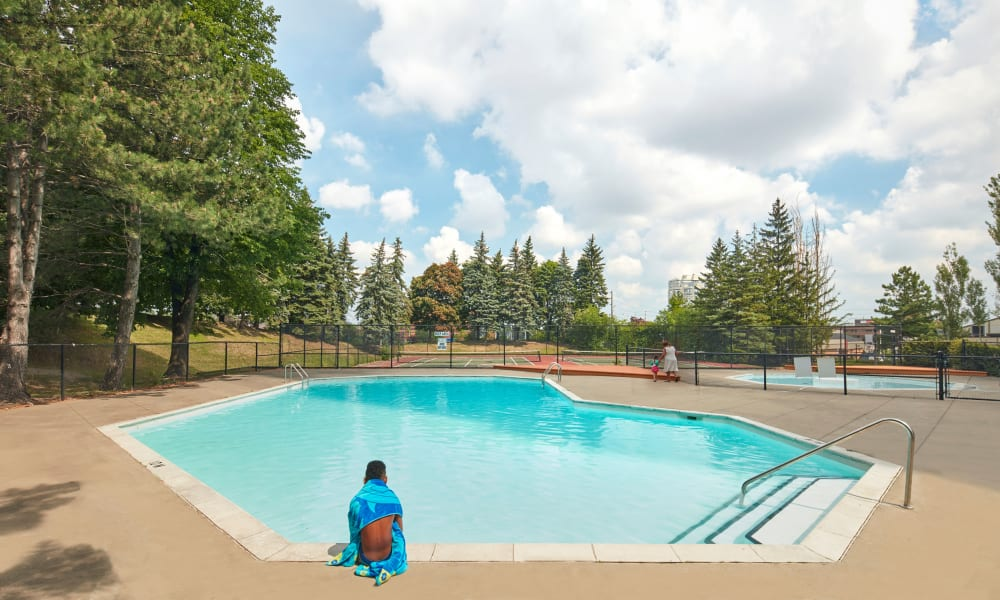 Shimmering swimming pool at 8 Silver Maple Court in Brampton, Ontario