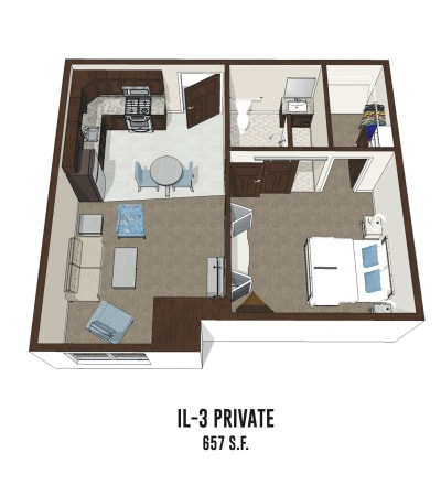Independent living private room 3 is 657 square feet at Byron Center in Byron Center, Michigan.